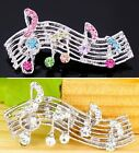 #P117M Gorgeous MUSIC SHEET Music Note Treble Clef Twinkling Crystal Pin Brooch