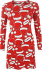 Womens Long Sleeve Xmas Christmas Santa Hat Festive Print Ladies Swing Dress