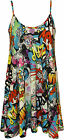 New Womens Comic Print Ladies Strappy Sleeveless Swing Mini Dress Vest Top 8-14