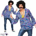 Mens Groovy Hippy Hippie Festival 1960s Shirt Peace Medallion Fancy Dress Outfit