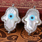 Mother of Pearl Evil Eye Hamsa Hand of God Bracelet Connector Jewelry 16*24mm