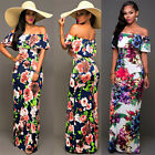 Summer Beach Sexy Women Shoulder Off Tunic Party Boho Floral Maxi Long Dress A
