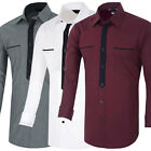 Men's Long Sleeve button-front Casual Slim Fit Luxury Stylish Dress Shirts New