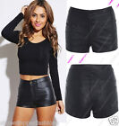 NEW FAUX LEATHER WOMENS PU SHORT LADIES Faux Leather HOTPANTS SHORTS 8 10 12 14