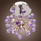 Modern Crystal Bright Purple Ceiling Light Fixture Lighting Chandelier Lamp CAM