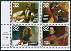 US USA Sc# 3215a MNH FVF PLATE # BLOCK Folk Singer Music Leadbelly Woody Guthrie