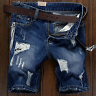 Mens Cargo Denim Shorts Distressed Ripped Jeans Fashion Casual Blue Pants Short