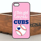 Hot Chic Loves Cubs Pink Case Cover For Apple iPhone 4s 5 5s 5c SE 6 6s 7 7plus