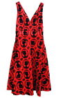 Jawbreaker Flocked Cameo Red Flare Dress Cocktail Dress