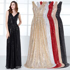 New Womens Long Sequins Formal Evening Dress Party Ball Prom Bridesmaid Gown