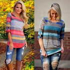New Fashion Womens Ladies Loose Blouse 3/4 Sleeve Tops Casual T Shirt Size 8-14