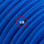 RM12 Blue Solid Round Electric Cable covered by Rayon fabric