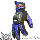 RS MOTOHART BLUE SHORT CUFF LEATHER TEXTILE ENDURO MOTORCYCLE MOTORBIKE GLOVES