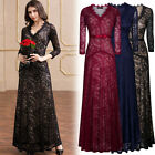 Womens Sexy Long Lace Bridesmaids Formal Cocktail Evening Wedding Gowns Dresses