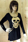 ROCK CHICK STYLE SKULL PUNK GOTH SLASHED ARMS LADIES LONG LINE TOP CHAINS HOLES