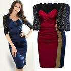 Women's Retro 1940s Sexy Evening Cocktail Prom Party Lace Bodycon Pencil Dresses