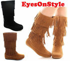 Womens Fringe Tassel Moccasin Faux Suede Fashion Ladies Mid Calf Boots Shoes