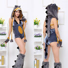 Women Dinosaur Cosplay Jumpsuit Blue Sexy Animal Cos Set Halloween Costumes