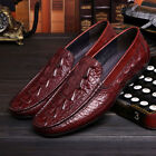 New Men's Genuine Leather Dress Formal shoes Crocodile Embossed Loafers Slip on
