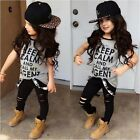 Cute Kids Baby Girls T-shirt Tops+Ripped Legging Pants 2pcs Outfits Clothes Sets