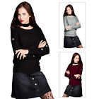 Brave Soul Ladies Ewes Knitted Jumper Designer Over Head Key Hole Eyelet Sweater