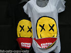 OVERSIZED YELLOW SMILEY HAPPY FACE LADIES ZIP MOUTH TOP TSHIRT ONE SIZE UKSELLER