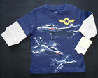 NWT: New Carter's Blue Faux Layered Airplane Long Sleeve Shirt, 3 mos.