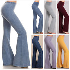 Chatoyant Denim Effect Hippie Bell Bottom Stretch Pants Yoga Plus Size S-3X