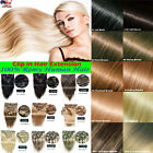 Clip in Human Hair Extensions Remy Double Weft Long Straight Full Head 80g 7A