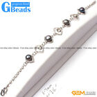 "6-7mm Freshwater Pearl Eye Shape White Gold Plated Bracelet 8"" Free Shipping"