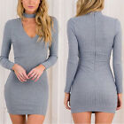 Women Long Sleeve Sweater Dress Slim Knitted Evening Party Bodycon Mini Dress