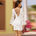 New Women Backless Lace Long Sleeve Tunic Dress Evening Cocktail Mini Gowns