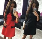 Fashion New Solid Women Pockets Bow Bottoming Straight Casual Mini Dress