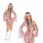 Teens Disco Diva Fancy Dress Costume New Girls Retro 1970's 60's Hippie Outfit