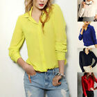 Summer Womens Ladies Loose Chiffon Tops Long Sleeve Shirt Casual Blouse V-Neck