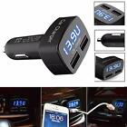 Car Charger 4 In 1 Dual USB Adapter Voltage DC 5V 3.1A Tester For iPhone Tablet