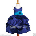 NAVY TURQUOISE BLUE WEDDING PICK UP FLOWER GIRL DRESS 6M 12M 18M 2 4 5/6 8 10 12