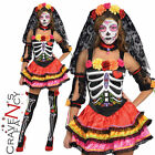 Day of The Dead Senorita Costume Ladies Halloween Fancy Dress Skeleton New