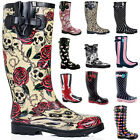 FIRE SALE New Womens Funky Snow Rain Welly Wellies Wellington Flat Boots Size