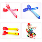 2pcs Safety Baby Toddler Learning Eat Feeding Temperature Forks and Spoons Set