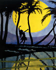 POSTER TRAVEL HAWAII BEACH PARADISE HULA GIRL DANCE MOON VINTAGE REPRO FREE S H