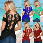 Fashion Women's Ladies Blouse Bandage Lace T-Shirt Short Sleeve Tops Summer Tee