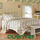 Embroidered 3pcs Cotton Padding Qulit Coverlet Set King Bedspread Pillowcases