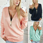 New Ladies Women's V-Neck Long Sleeve Hoodie Zip up Jumper Pullover Blouse Tops