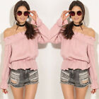 Fashion Sexy Women Off The Shoulder Casual Loose Long Sleeve T-Shirt Tops Blouse