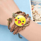 New Women Men Pokemon Pikachu Multilayer Voven Bracelets Leather Bracelet Gift