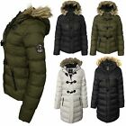 Womens New Faux Fur Hooded Puffer Padded Ladies Warm Parka Jacket Winter Coat