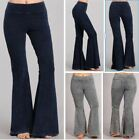 Black Stone Effect Hippie Boho Bell Bottom Flare Stretch Pants Soft Yoga S M L