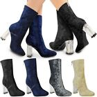 Womens Ladies Ankle Boots Clear Perspex Block High Heels Velvet Party Celeb Size