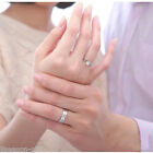 GIFT Womens Mens Couple Silver Plated Rhinestone Promise Forever Ring Engagement